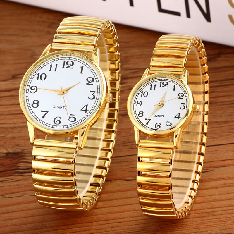 Luxury Men Women Fashion Gold Round Wristwatches Couple Flexible Stretch Band Quartz Watches