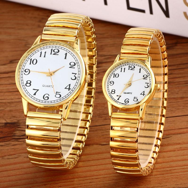 Luxury Men Women Fashion Gold Round Wristwatches Couple Flexible Stretch Band Quartz Watches