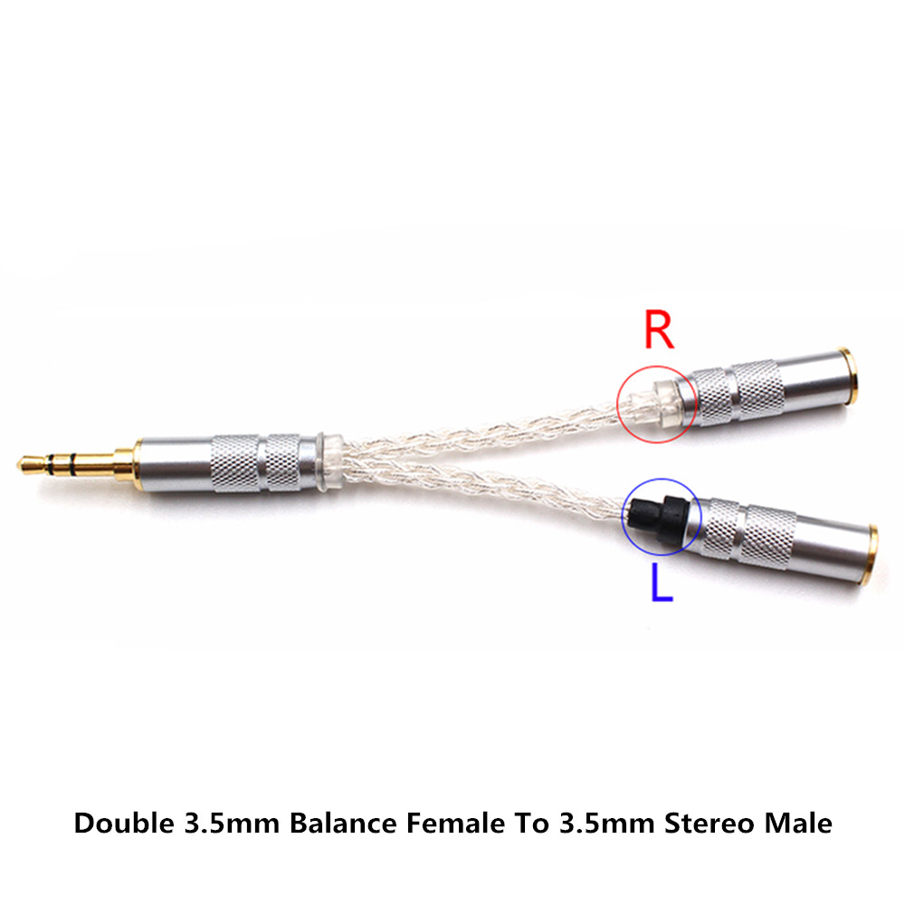 Double 3.5mm Balance Female To 3.5mm Stereo Male