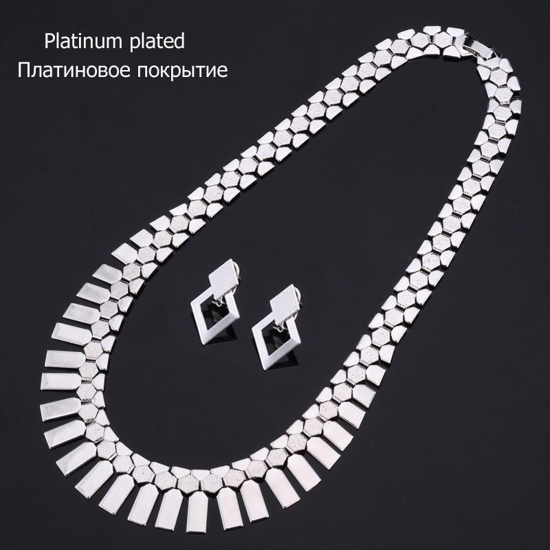 U7 Dubai Big Gold Color Earrings Choker Necklace Set For Women Gift