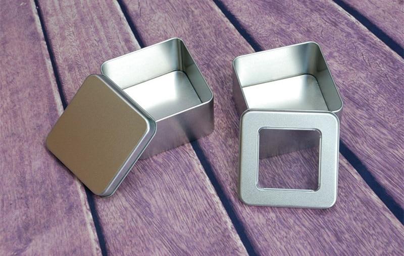 10pcs 9 9 5 5cm Mint Tin boxes multi purpose open window round case Tool container