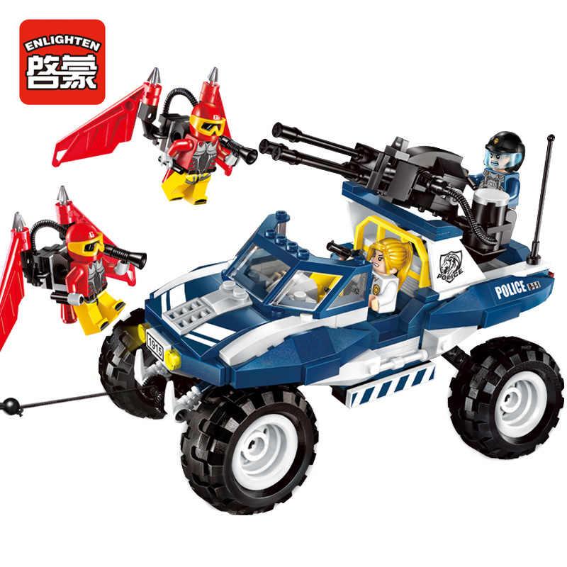Просветите 356 шт. полиции Pistols воздуха пистолет строительных блоков фигурку кирпичи Cruiser внедорожник игрушка 3D Конструкторы для детей