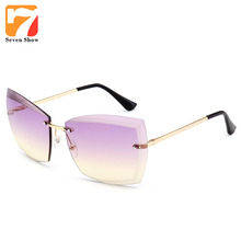 Gafas de Sol de lujo de Las Mujeres 2017 Diseñador de la Marca de Gran Tamaño Transparente Gafas de Sol Sin Montura Marco Espejo Shades Mujer Oculos gafas de sol