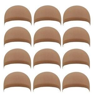 Image 2 - 36 peças (18 pacotes) touca de cabelo com elástico 2 unidades/pacote, chapéu para cabelo com tecido de soneca e bege