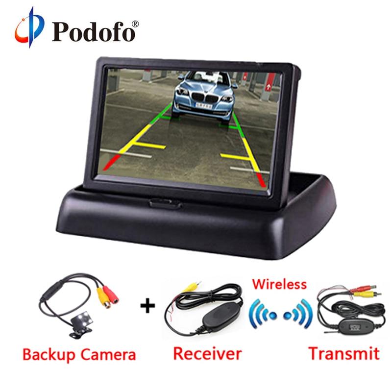 Podofo 4,3 pulgadas TFT LCD Monitor de coche pantalla plegable sistema de aparcamiento de cámara inversa para monitores de visión trasera del coche NTSC PAL