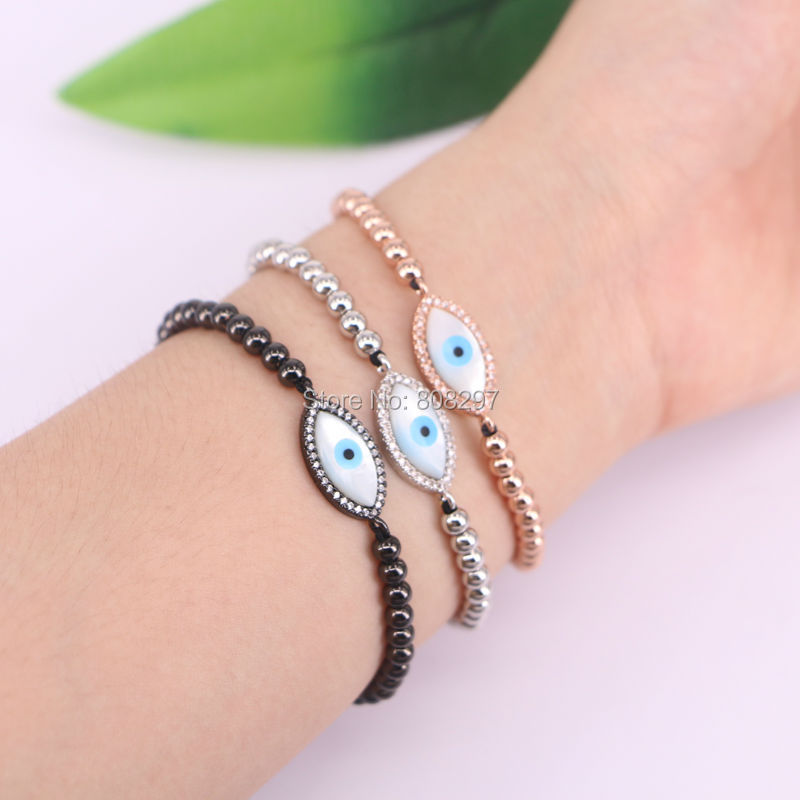 10Pcs Micro Pave CZ Turkey Style Mother of Shell Connector Beads Braiding Macrame Bracelet For Men&Women
