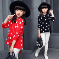 Toddler Clothes Spring Autumn Girls 2016 New Arrival Dot Printing Knitted Long O-neck Pullovers Long Sleeve Lovely Sweaters