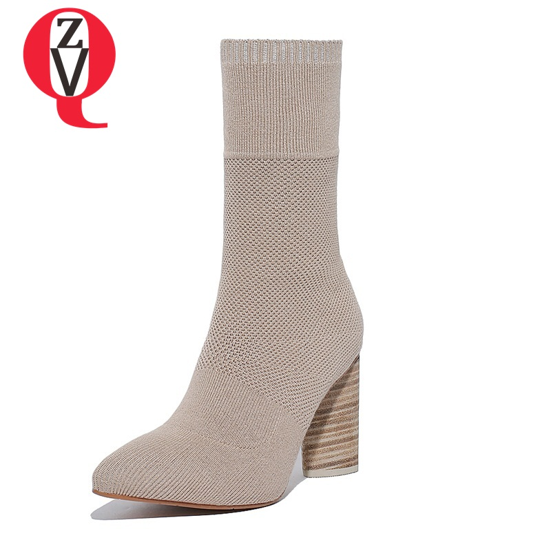 ZVQ mid-calf boots 2017 special different shoes America and Europe popular individuality pointed toe warm women boots
