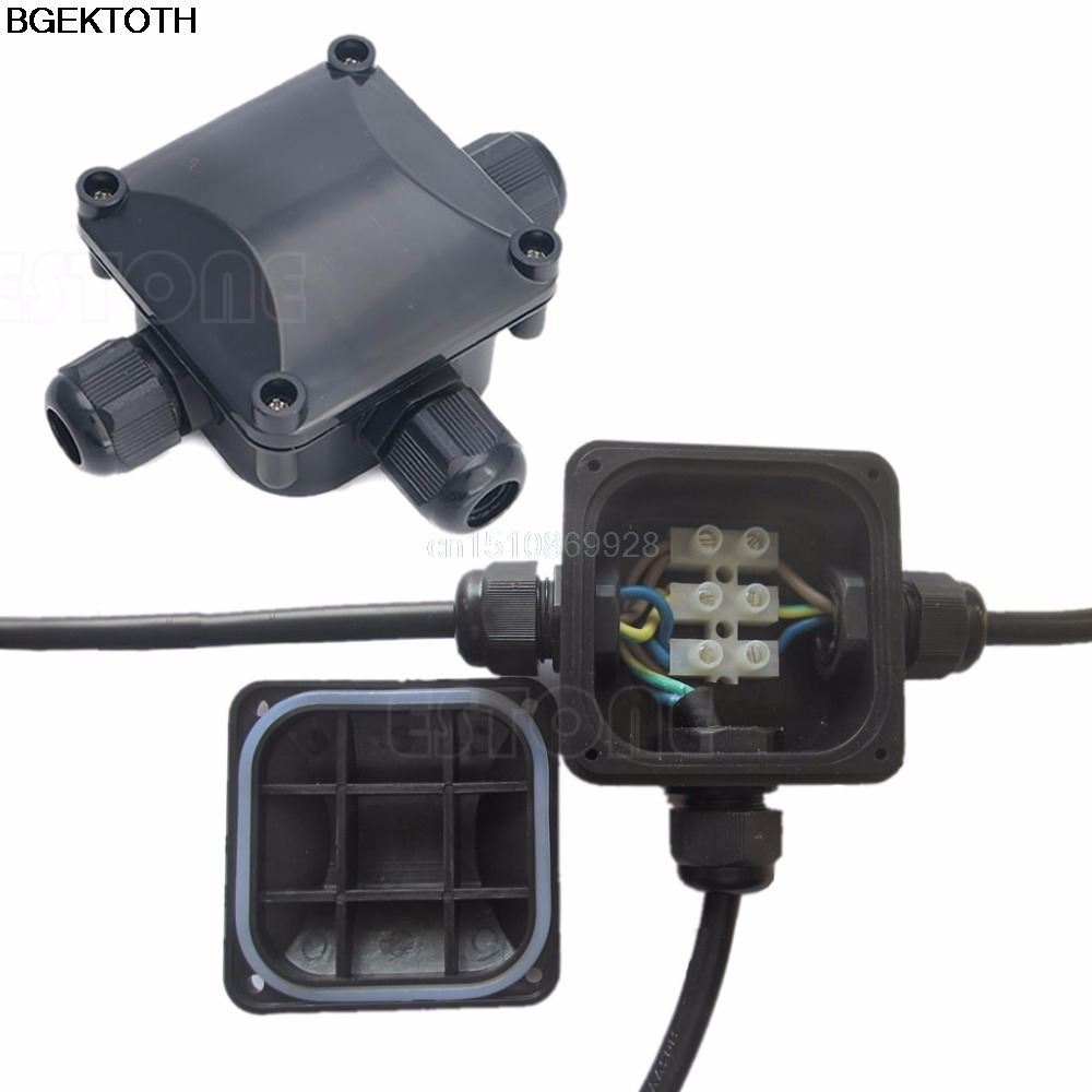 1pc Waterproof IP 68 Junction Box 3 Cable & Wire Protection Building DTY Connectors