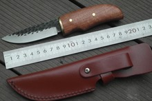 HENHAOMAI Handmade Fixed Blade Knife Survival Hunting Knives hammered leather with wooden handle 041#