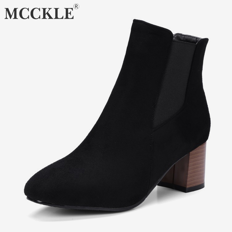 MCCKLE Plus Size Autumn Women Ankle Boots Warm Chelsea Boot For Ladies Slip on High Heel Shoes Elastic Band Casual Short Botas 1 pair front halogen fog lights lamps turn signal light front bumper fog light for hyundai sonata 2011 2012 2013