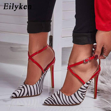 Eilyken Spring/Autumn Heels Pointed Toe Women Pumps 11 CM Sexy High Heels Buckle Strap Party Red Shoes Wedding Shoes