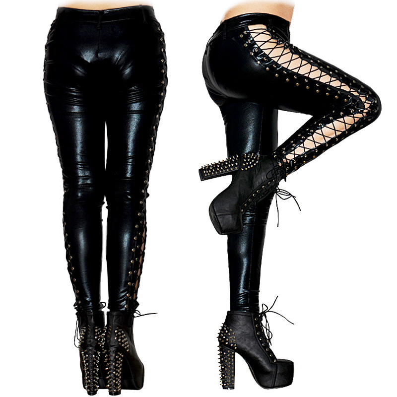 77e1a13c66e96 2017 New High Quality One Size Black Gothic Punk Rock Pants Bandage Lace Up  Women PU Faux Sexy Hollow Out Leather Leggings Pant