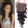 6a malásia virgem cabelo solto curly 5x5 lace closure com nós branqueada onda solta malaio encerramento oriente livre três parte