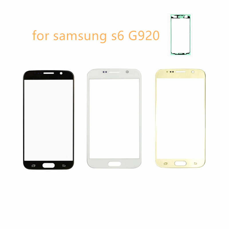 لمس الشاشة لسامسونج غالاكسي S6 G920 الذهب/أسود/أبيض/الأزرق الداكن/الأزرق الزجاج الأمامي اللمس لوحة الشاشة محول الأرقام عرض الأشعة فوق البنفسجية الشريط