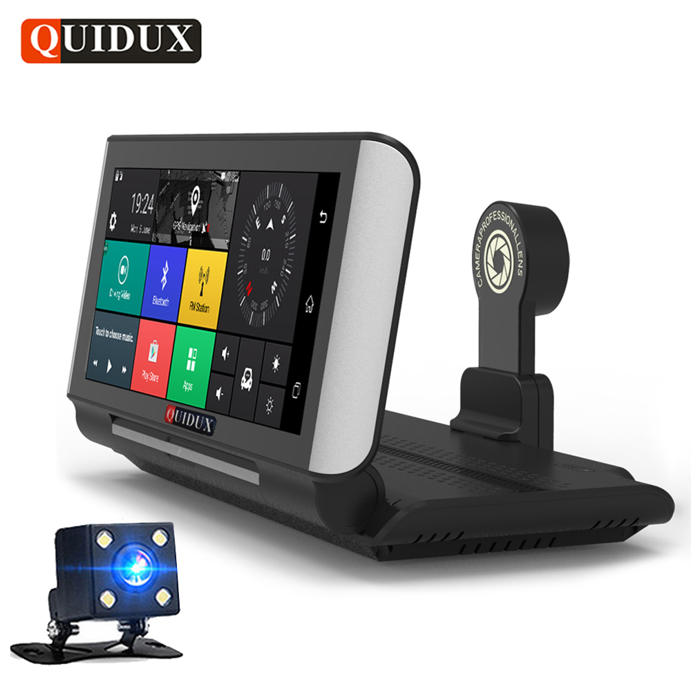 QUIDUX 6.86 Dual lens 4G Android Car DVR GPS Navigation ADAS Full HD 1080P Video Camera Dashcam detect Recorder WiFi Monitor quidux car dvr vehicle gps wifi android navigation 8g 512mb wifi auto video camera recorder with europe us russia map