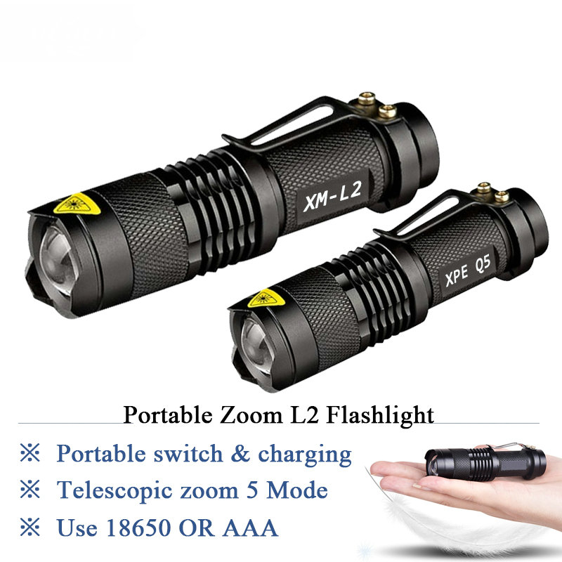 Zoom mini cree xm-l2 Flashlight Led Torch 5 mode 3800 Lumens waterproof 18650 Rechargeable battery Tactical flash light image