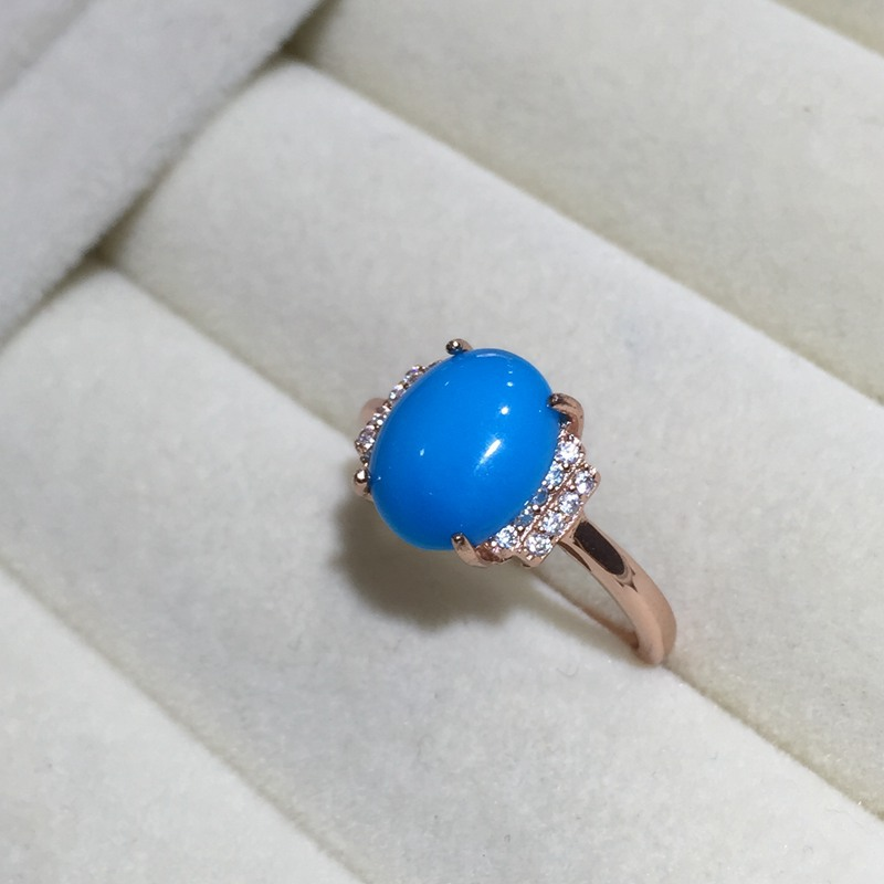 MeiBaPJ Natural Turquoise Gemstone Trendy Ring for Women Real 925 Sterling Silver Charm Fine Jewelry