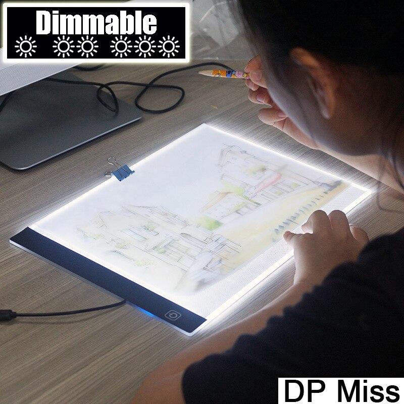 Dimbare! Ultradunne A4 LED Light Tablet Pad gelden EU/UK/AU/US/USB Plug Diamant Borduurwerk diamond Schilderen Kruissteek Kits