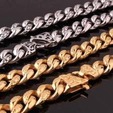 Custom ANY Length 14mm Width Heavy Thick Silver Gold Black Tone Round Curb Cuban 316L Stainless Steel Necklace Link Mens Chain high quality 21mm 60 cm super heavy thick mens flat curb cuban chain necklaces tone stainless steel hip hop gold silver necklace