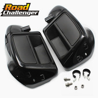 For Harley Touring Road King Street Electra Glide Ultra FLTR 2014 2018 17 Vivid Black Lower Leg Warmer Vented Fairing Glove Box