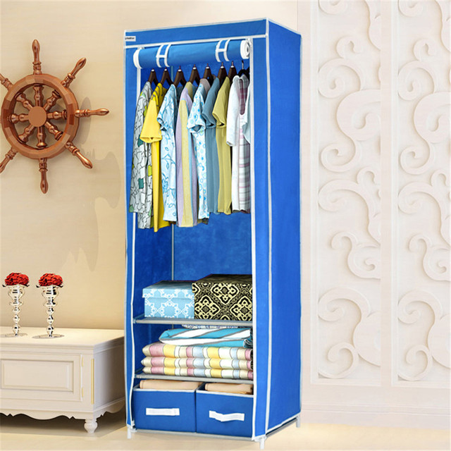 Exceptionnel Finether Triple Canvas Clothes Wardrobe Cupboard Hanging Rail With Storage  Shelves And 2 Drawers Storage Box