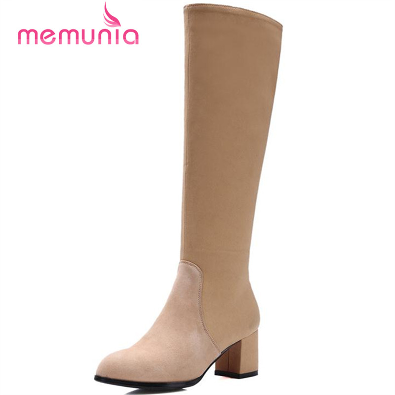 ФОТО MEMUNIA High square heels boots spring autumn shoes women knee high long boots contracted cowhide leather boots