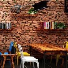 купить papier peint Vintage Wallpaper Brick 3D Home Decor Retro Brown Red Wall Paper Rolls for Shop Walls Decoration decoracao casa по цене 2181.24 рублей