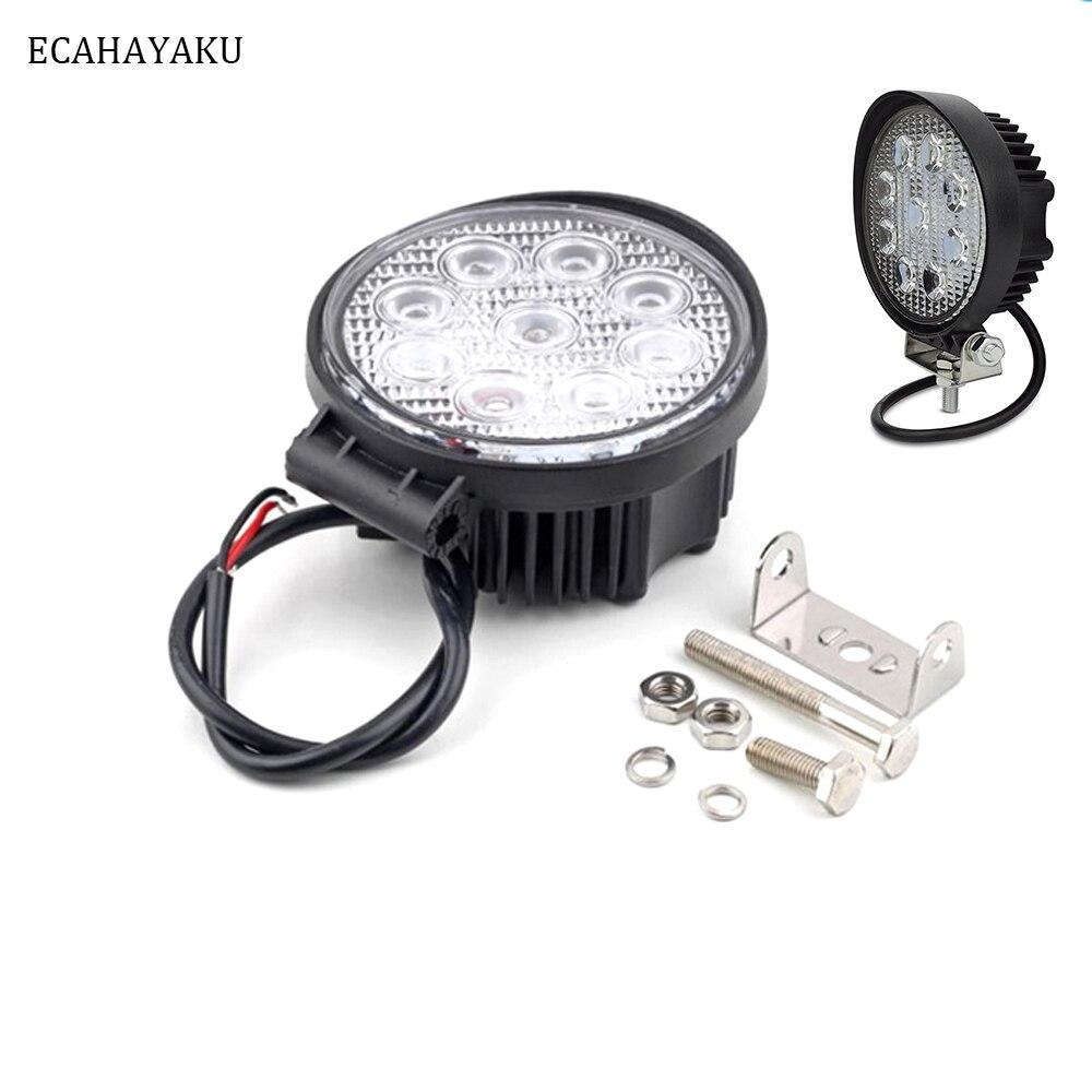ECAHAYAKU 2x 4 Inch 27W LED Work Light spot Flood Lamp 12V 24V Round Off-road Lights Worklight for Off road Motorcycle ATV Truck