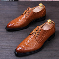 New Stylist Business Men Dress Shoes Fashion Style Men Leather Wedding Shoes Social Sapato Male Lace-Up Oxfords Flats Shoes