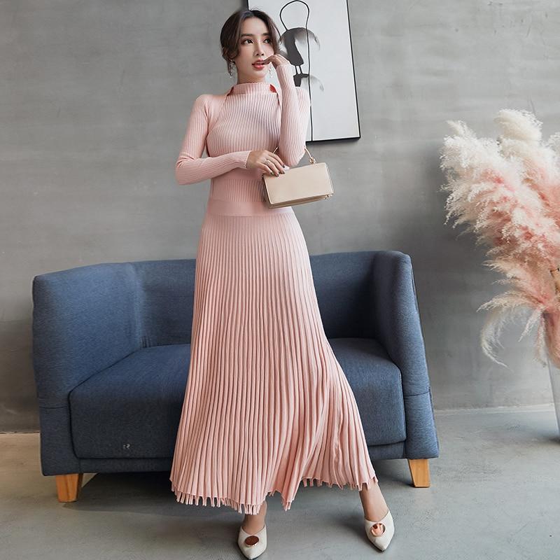 Haute qualité 2018 automne hiver longue robe à tricoter mode femmes rose col montant Slim épaissir chaud pull robe plissée