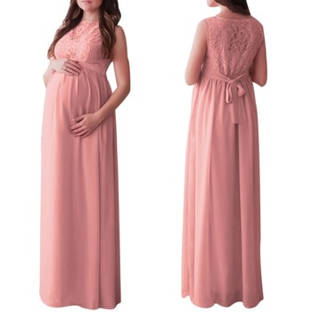 2018 Elegant Pregnant Women Lace Loose Swing Maxi Maternity Dress Wedding Party Gown Photography Props Pleated Casual Long Dress