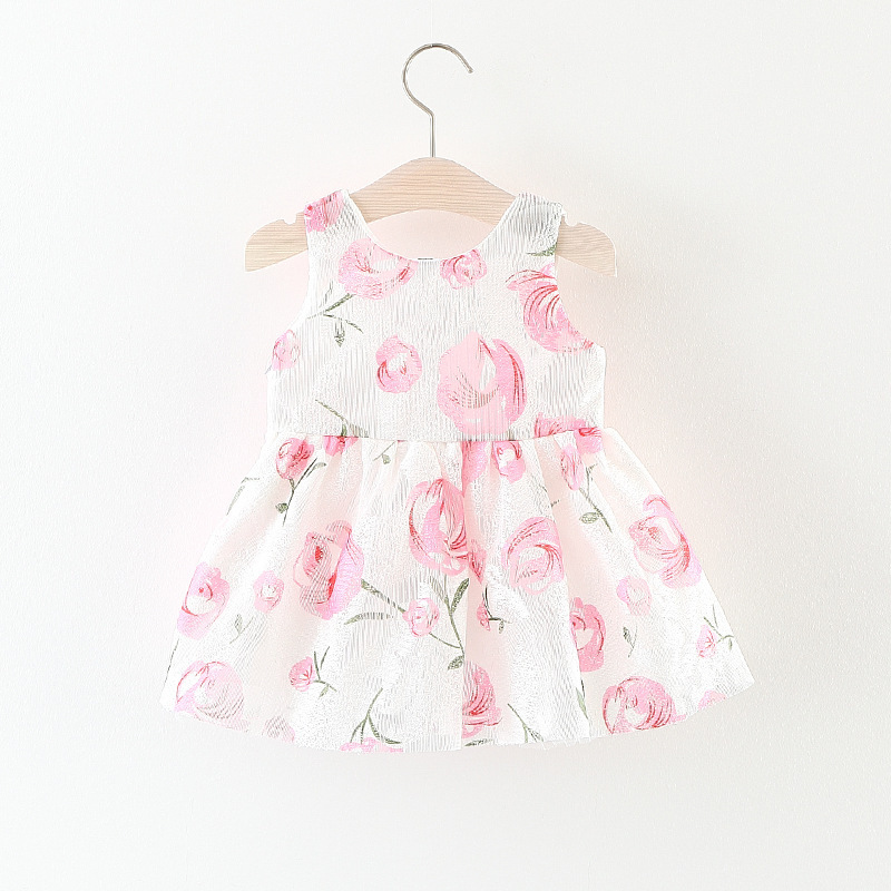 b5a60440c410 Baby Girl dress Kids Girls Summer Dresses Princess Dress Gauze Bowknot  Champagne Rose Dress Fabric Flower Pattern Girl Clothing-in Dresses from  Mother ...