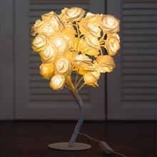 Европейский штекер, белый/розовый цветок розы, Ночной светильник, для мероприятий, вечеринок, розовое дерево, светодиодный светильник, гирлянда, светильник s для украшения дома, настольная лампа
