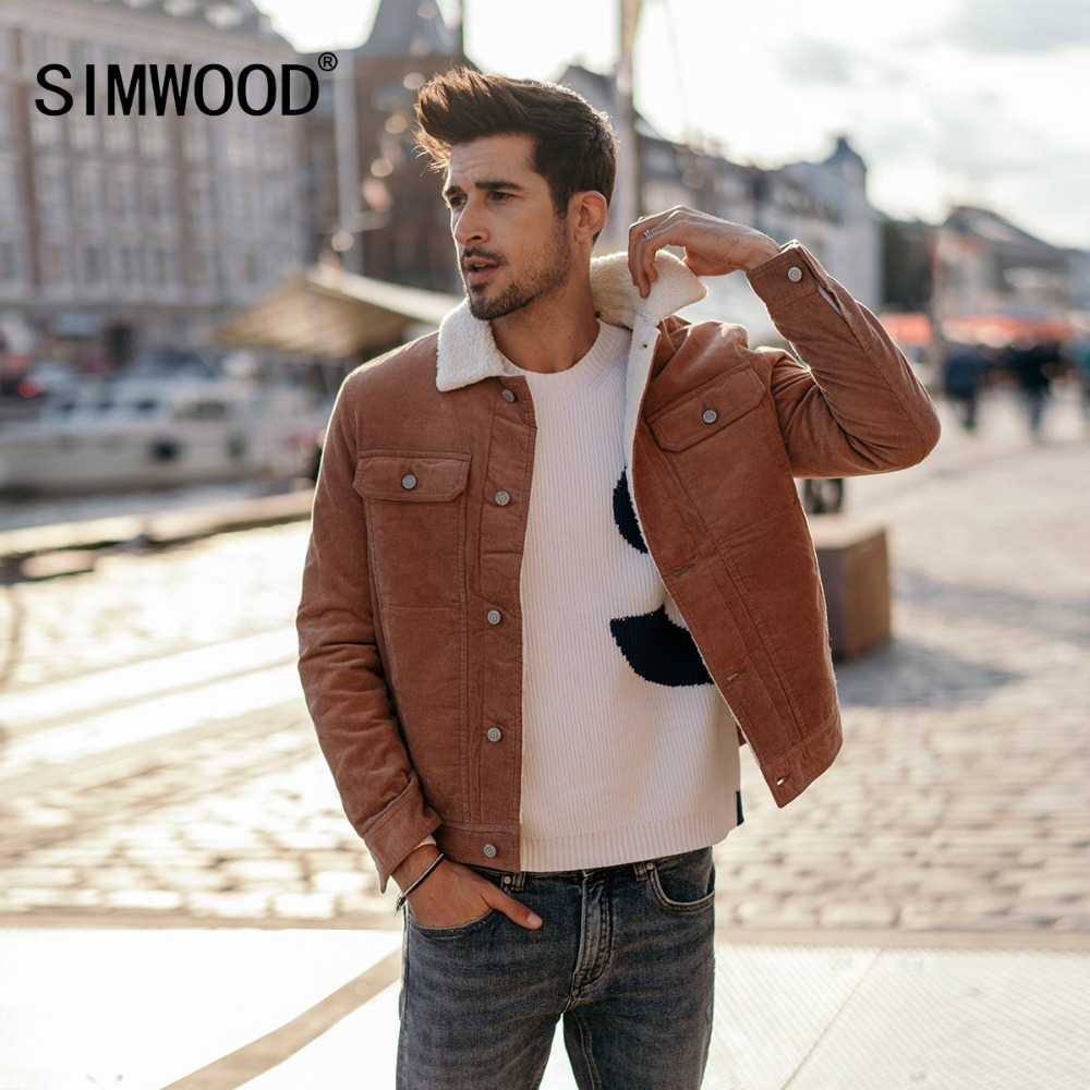 SIMWOOD New 2019 Winter Men Jackets Fashion Casual Thick Warm Faux Shearling-lined Trucker Corduroy Coats Outwear Jacket 180503