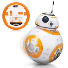 Star Wars RC BB8 Intelligent Upgrade Mazā bumba 2.4G Tālvadības pults Droid Robots BB-8 rīcības attēls Bērnu rotaļlietu dāvana ar skaņas modeli