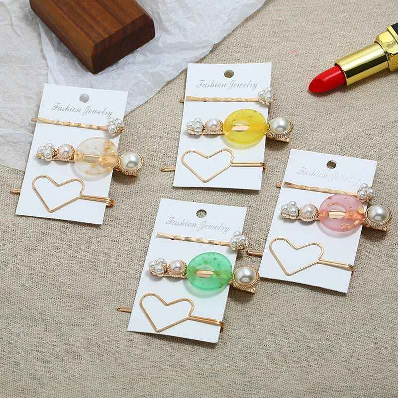 ZOSHI 3PCS Korea Vintage Acrylic Resin Beads Hairpins Imitiation Pearl Metal Gold Color Hair Clips Hair Accessories for Women