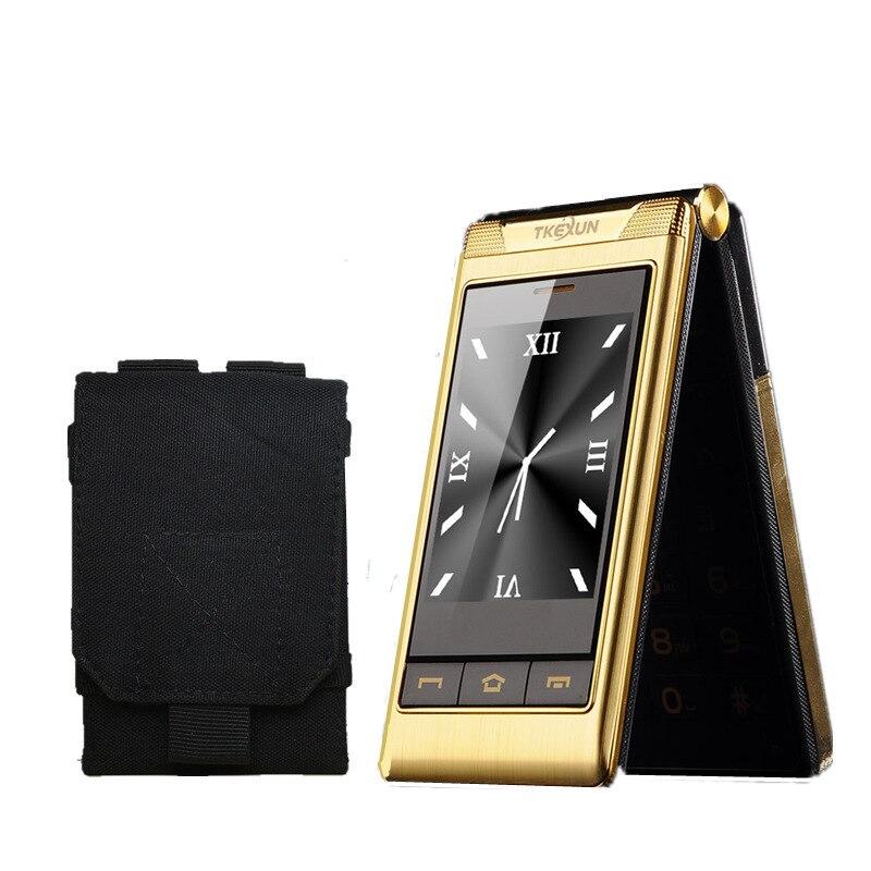 Чехол подарок 3,0 двойной Экран сотовые телефоны dual SIM карты один ключ вызова FM сенсорный мобильный телефон клавиатура на русском языке TKEXUN ...