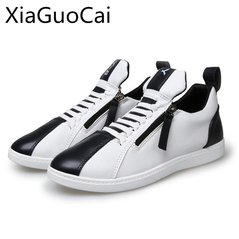 Leather Cool New Men Casual Shoes Spring Pu Leather Street Male Sneakers High Top Zipper Flat Shoes Drop Shipping W10 35 casual dancing sneakers hip hop shoes high top casual shoes men patent leather flat shoes zapatillas deportivas hombre 61
