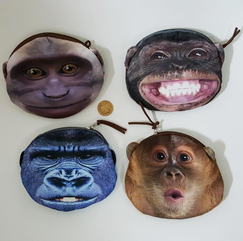 Ugly monkey face cloth printed coin purse childrens small bag Very unusual design ungry smile emotion