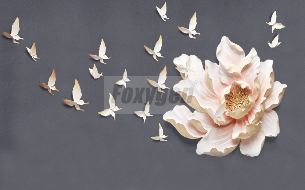 Custom photo Art wallpaper 3D FLower Designs TV background/living room/ hotel decoration ...