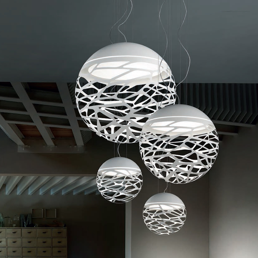 Livraison gratuite moderne pendentif LED lampe blanc noir peinture métal suspension pour escalier salle à manger salon éclairage suspendu