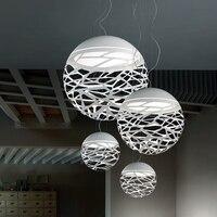 Free Shipping Modern Led Pendant Lamp White Black Painting Metal Pendant Light For Stair Dinning Living