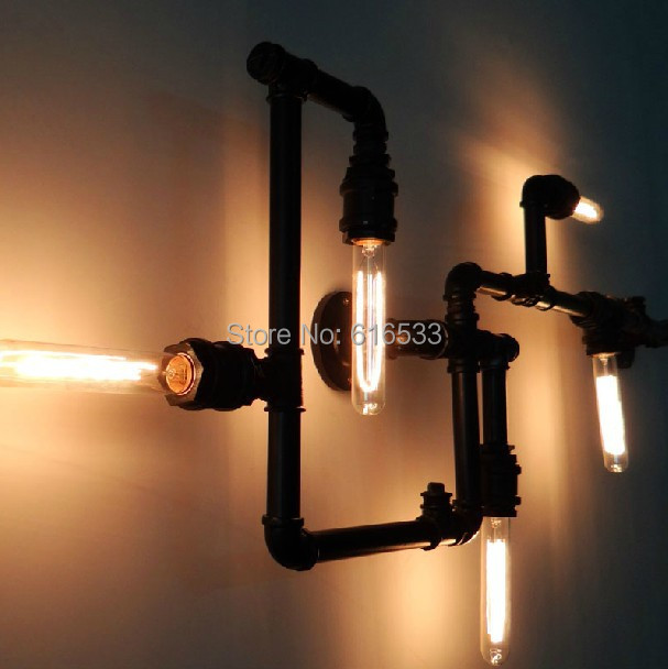 New 2014 Loft water pipe wall lamp vintage bedroom lights  personality black with gold edison bulb e27