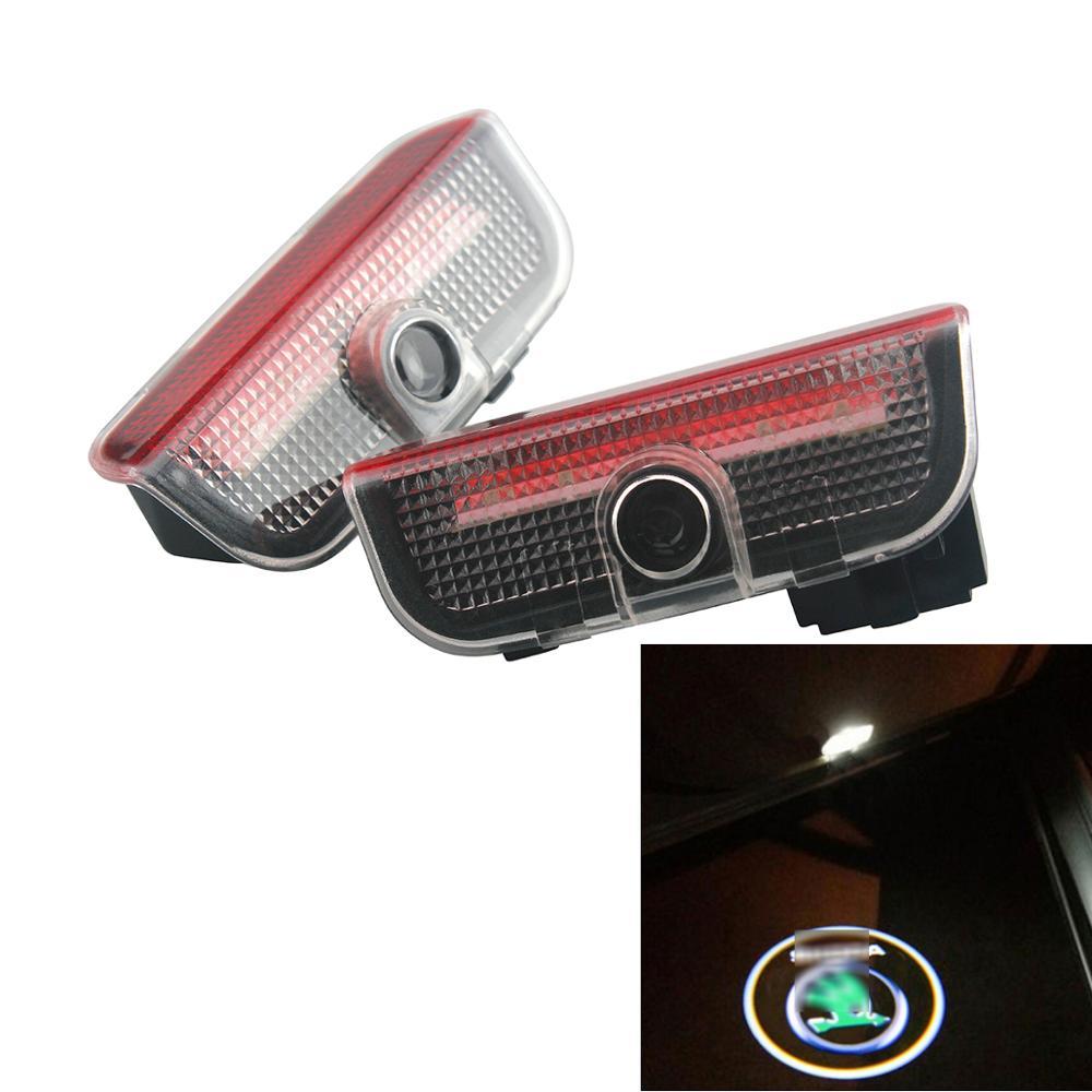 2pcs Led Car Door Light Laser Projector Lamp For Skoda Superb 2009 2010 2011 2012 2013 2014 2015 Welcome Light Logo Car Styling
