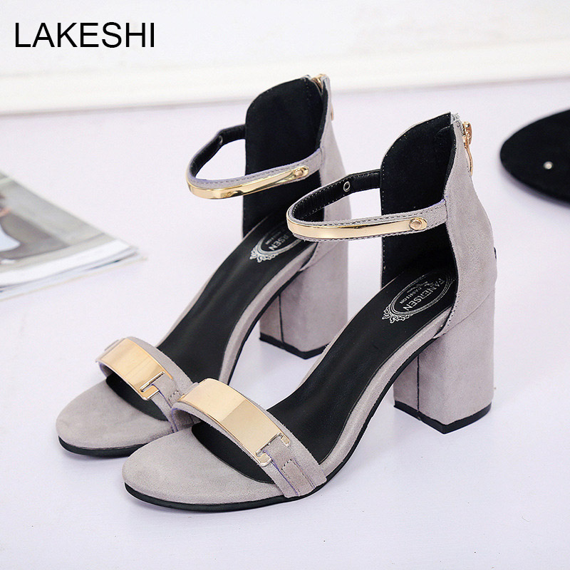 LAKESHI Women Sandals High Heels Fashion Summer Bling Beach Shoes Sexy Ladies Sandals