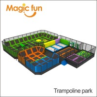MAGIC FUN Popular Newest Games Large Indoor Amusement Trampoline Games Park with Foam Pit Basketball and Climbing Wall