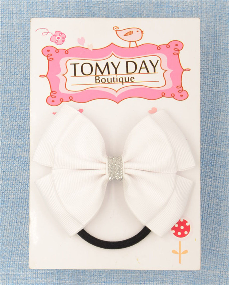 22 Color Elastic Hair Bands Solid dots bow PonyTail Holder hair ties Headband Hairband for girl