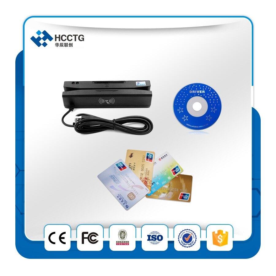 Mini lecteur de carte à bande magnétique Portable HottingUSB 3 pistes + lecteur/graveur de carte à puce + lecteur de carte RFID avec SDK gratuit HCC110