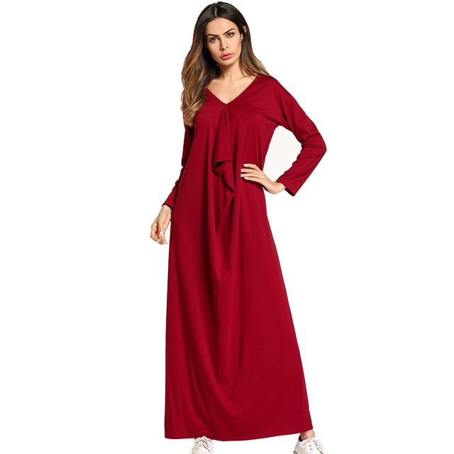 185779 Muslim Fashion Women's dress robes  Muslim Middle East Europe led Beaded Ruffle Dresses Abaya Vestidos Ramadan Fashion